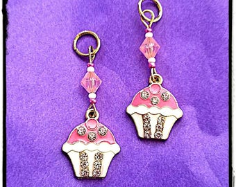 Hearing Aid Charms: Pretty Jeweled Pink Cupcakes with Czech Glass Accent Beads!