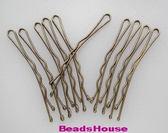 Wholesale  HC-44Ant   100 Pcs Antique Brass Bobby Pin, 45 mm