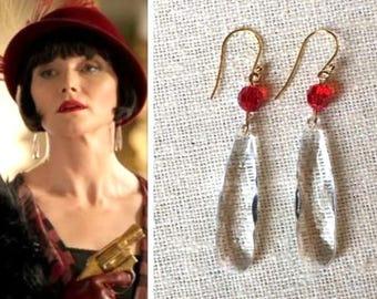 Phryne Fisher Faceted Clear Crystal Chandelier Ruby Red Swarovski Gold Teardrop Earrings