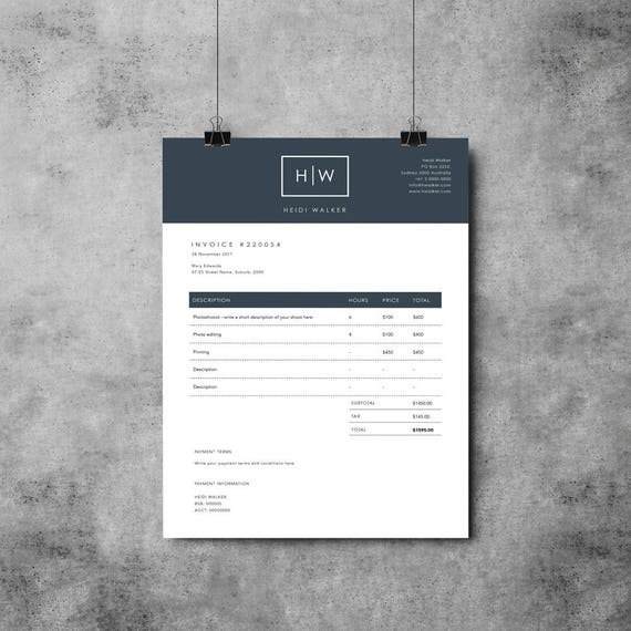 Plantilla de factura fotógrafo Diseño de factura Recibo