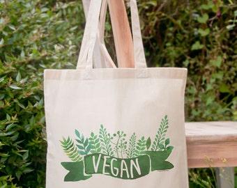 Vegan tote bag-grocery tote bag-farmers market tote bag-vegan gift-custom tote bag-vegetarian tote bag-botanical tote-NATURA PICTA-NPTB095