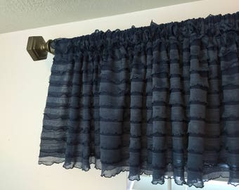 Navy Blue Ruffled Curtain Valance- Dark Blue Ruffle Window Treatment, Baby Girls Nursery- Blue Valance- Navy Ruffle Valance, Kitchen Valance