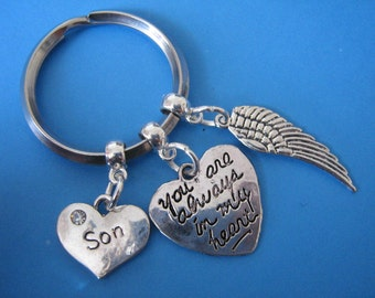 In Memory of Son Keyring Sympathy Son Bereavement Gifts Angel Wing Heart Charm