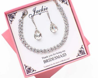 Crystal bridesmaid jewelry set, CZ bridal jewelry set, silver crystal bracelet and earrings set, bridesmaid gift, crystal wedding jewelry