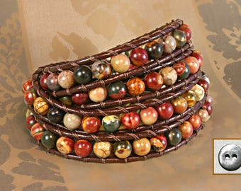 Leather Wrap Bracelet, PicassoJasper, 6mm Round Stones, 4x wrap, Semiprecious stone, Brown Leather, Pewter Button
