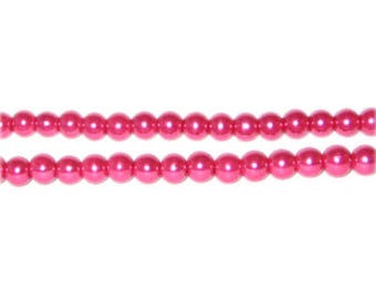 4mm Magenta Glass Pearl Bead, approx. 113 beads