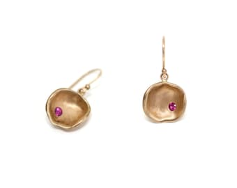 14K rose gold concave earrings with rubies