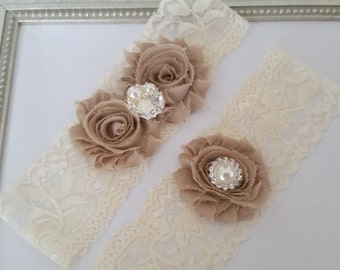 Bridal Garter Set, Ivory and Champagne Lace Garter, Keepsake Garter, Toss Garter, Ivory and Champagne Wedding Garter Set, Bridal Garter