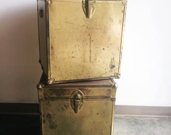 RESERVED****Pair of Vintage Rusty Brass Trunks