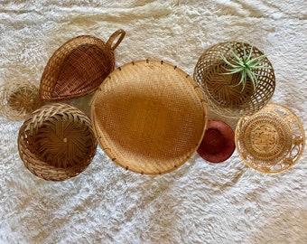 Set of 7 Woven Wall Baskets/Basket Wall/Basket Wall Decor/Boho Basket Wall/Farmhouse Decor/Boho Decor/Wall Baskets