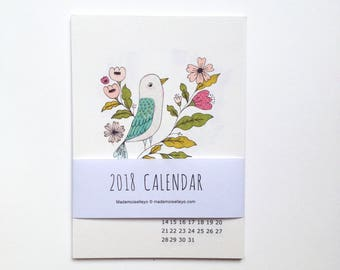 2018 calendar - 2018 desk calendar - 2018 wall calendar, 12 cards - 12 illustrations - illustrated wall calendar size 4 x 6 inch