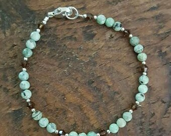 Chrysoprase and Sterling Silver Bracelet, Small Chrysoprase and Sterling Silver Gemstone Bracelet, Green Chrysoprase and Sterling Bracelet