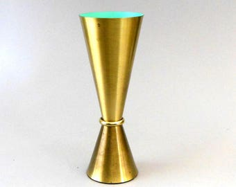 Vintage 1960s MCM 11in Brass Vase Brushed Brass Reverse Double Cone Mid Century Mod Holds Water No Leaks Heavy Gauge Weighted Bottom VG Cond
