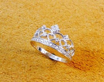 Sterling Silver Crown Ring with CZs, Gifts for Her, Princess Sterling Silver Ring, Valentine's Day, Princess Ring,