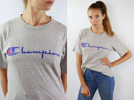 Champion T-Shirt 90s Grey Champion Shirt Vintage Champion Top Grey Champion T-Shirt Champion Retro Shirt Grey Champion Top Champion Vintage