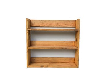 Reclaimed Rustic Wooden Spice Rack 3 Shelves 41cm Tall Open Top Light Oak Finish, Choice of Widths