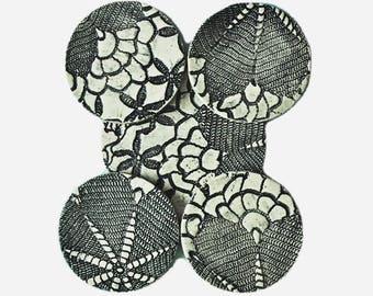 Coaster Trivet  Set, Black & White, Blue/white, Lace Pottery, Ceramic Coasters, Handmade, Shabby Chic Home Decor