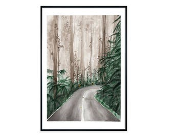 Watercolor painting FINE ART PRINT 'forest', forest, nature