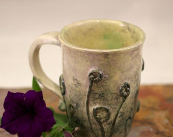 Stoneware pottery ceramic coffee mug - fiddleheads coffee cup