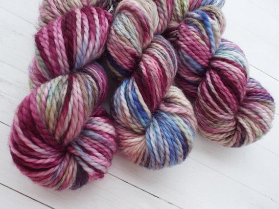 Hand Dyed Yarn 100% Superwash Merino Yarn Bulky Weight Yarn - 109 Yards Variegated Yarn Wine Pink Yarn Blue Yarn - Victorian Rose Garden