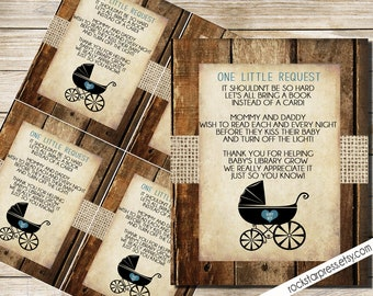 Rustic Boy Shower Book Request Baby Shower Bring A Book Insert, INSTANT DOWNLOAD, Digital File, Printable _1222