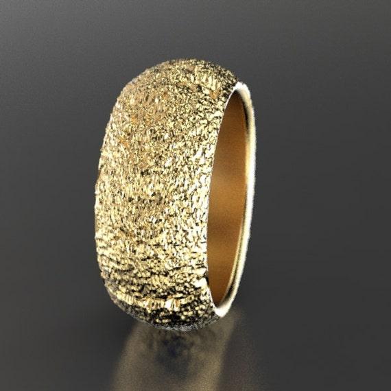 Redwood Tree Bark Wedding Ring in Recycled 10k 14k or 18k