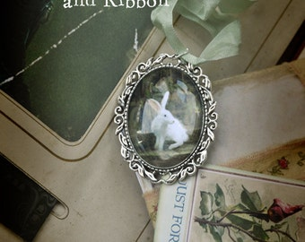 Valentines Gift - white rabbit Lucky Pendant/ Broach with Chain and Ribbon  'See drop down menu for options'