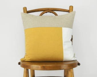 16x16 Color Block Decorative Pillow Case in Mustard Yellow, White and Natural   Geometric Cushion Cover   Modern and Minimalist Home Decor