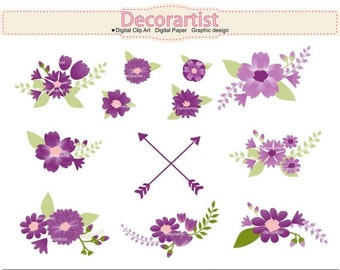 ON SALE Flowers clip art, Shabby Chic flowers clip art,lavender bouquet,purple flowers clip art, INSTANT Download, purple floral