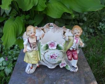 Vintage Ceramic Bud Vase, Wall Pocket, Roses, Playful Children