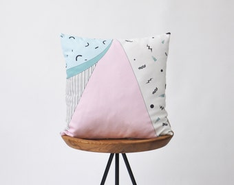 "Memphis, Decorative Pillows, Throw Pillow, Cushion Cover, Modern Kids Pillow, Nursery Decor, Baby Shower Gift, Pink Blue Cushion 16"""
