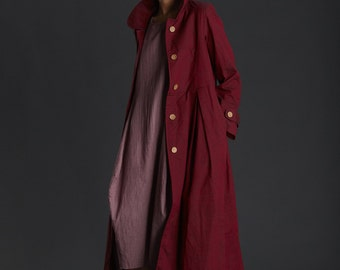 New Collection/ Long Jacket/ Peter PAn Collars/ Textured Cotton / Deep Red Jacket/ Buttoned Down/ Winter Jacket