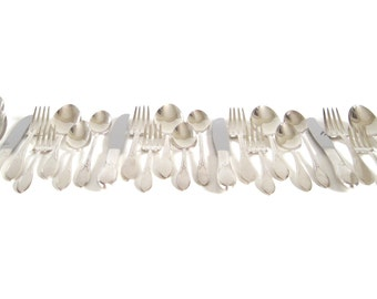 Silverplate Silverware Set Complete Service for 4, 6-pc Place Settings with Iced Tea Spoons Wm Rogers Pickwick 1930s Flatware Set