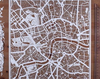 Paper cut map London 12×12 In. Paper Art  IDEAL GIFTS