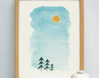 Misty Pines Abstract Print | Watercolour Abstract Print | Japanese Style Print | Pine Forest Woodland Print | Calm print | Calming Print
