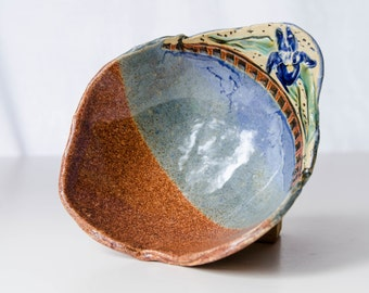 Blue Iris Pottery Bowl, Handmade Stoneware Pottery, Lodge Decor, Iris Artwork, Handmade Pottery, Folk Art, Natural Blue Bowl, Flower Bowl