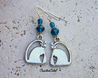 Blue Beaded Boho Cat Earrings with Silver Kitty Cat Charms & Czech Glass Faceted Beads ~ the Perfect Jewelry Gift for the Cat Lover!