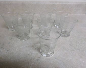 Vintage Double Shot Glasses Set of 8 Frosted & Etched