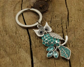 Owl keyring, owl keychain, turquoise owl keyring, owl teacher gift, turquoise owl bag charm, present for teacher, large owl charm keyring