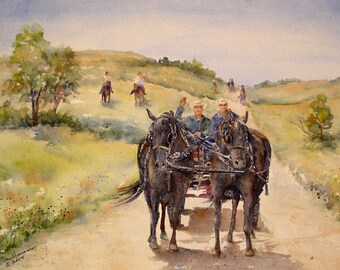 "ORIGINAL Watercolor Western Summer Prairie Landscape Painting-Horse and Buggy-Horse Riders-11""x15"" Medium Wall Hanging"