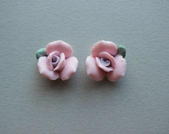 Vintage Porcelain Flowers - Handmade Japanese Bisque Pink Flower Rose Bud Cabochons 17mm