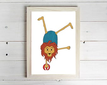 Circus Lion - Unframed Art Print, Lion Drawing, Nursery Picture, Animal Wall Art, Children's Decor, Kid's Bedroom.