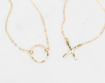 Best Friend Necklaces, Sister Necklaces, Mother-Daughter Necklaces / XO / 14k Gold Fill, Sterling Silver, Rose Gold Fill •Layered Long LS351