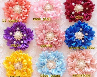 Handmade Ribbon Flowers  (3 inches) You Choose Color MY-676 Ready To ship