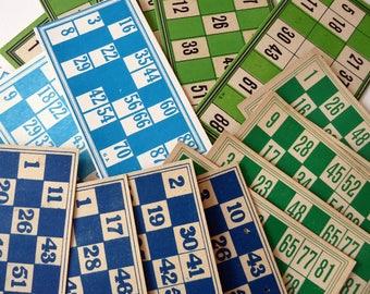 Vintage Bingo cards - 10 cardboard cards