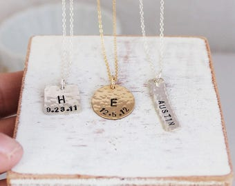 Initial and birthdate necklace for Mothers Day in sterling silver or 14k gold filled • IB3s