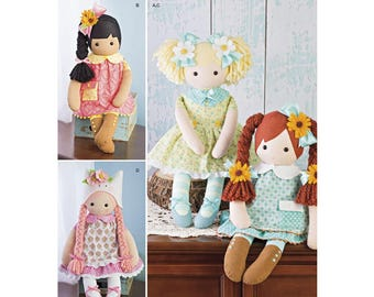 CLOTH DOLL PATTERN / Soft - Plush - Stuffed 23 Inch Tall Dolls With Clothes - Shoes - Hair Accessories