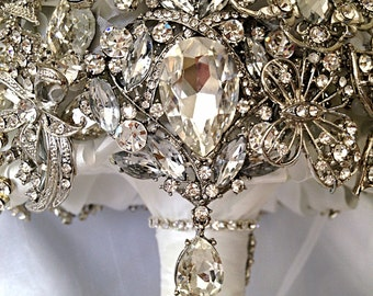 Full Crystal Brooch Bouquet. FULL PRICE on made to order Diamond Jeweled Crystal Bling Broach Bouquet