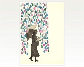Raindrop Print, Weather Art, Female Figure - Rain Dance