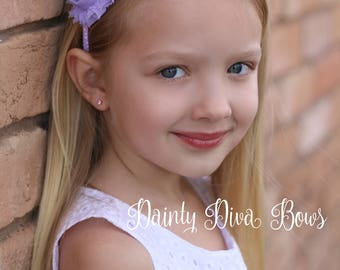 Lavender Headband, Shabby Flower Headband, Lavender Ribbon Wrapped Headband, Flower Headband, Toddler Headband, Girls Headband, Photo Prop